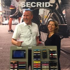 Co-founder Marianne and Swedish agent Michael on the Secrid booth at the #StockholmFashionWeek • #Secrid