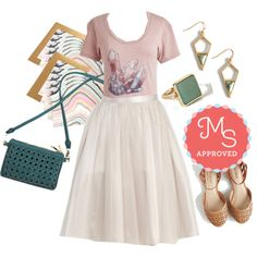 In this outfit: Shard Rock Cafe Top, Pointe of View Skirt, Marbel Marvel Notecard Set, I'm the Woven One Purse, That's a Good Point Earrings, Amazonite and Day Ring, Count the Ways Flat #tulle #graphictee #cute #casual #jewelry #ModCloth #ModStylist #fashion