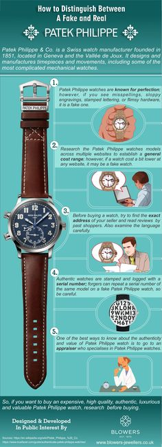 How to Spot & Authenticate a Real Patek Philippe Watch  Patek Philippe & Co. is a Swiss watch manufacturer founded in 1851, located in Geneva and the Vallée de Joux. It designs and manufactures timepieces and movements, including some of the most complicated mechanical watches. visit https://www.blowers-jewellers.co.uk/
