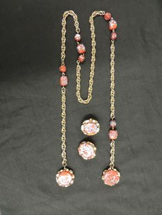 Vtg Designer Jewels by Julio Goldtone Red Glass Knot Necklace Earring Set WOW  #JewelsbyJulio