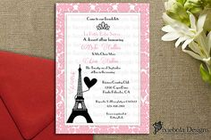 Paris Themed Baby Shower Invitation or For All by pixieboladesigns, $20.00