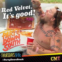 Murray <3 red velvet cake. Who wouldn't? #PartyDownSouth