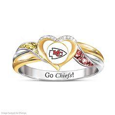 Kansas City Football, Kansas City Chiefs Football, Giants Baseball, Heart Shaped Rings, Heart Ring, Infinity Pendant, Dallas Cowboys, Pittsburgh Steelers, Indianapolis Colts