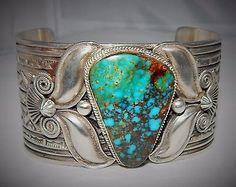 """Details about HUGE Andy Cadman Navajo """"Royal"""" Turquoise Sterling Silver Bracelet, 156 Grams - List of the best jewelry Modern Jewelry, Boho Jewelry, Jewelry Design, Navajo Jewelry, Jewellery Box, Silver Jewellery, Jewelry Gifts, Fashion Jewelry, Unique Jewelry"""