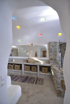 a unique, private villa for rent in mykonos, a luxurious rental property with breathatking views and amazing infinity pool in a great vacation spot. Great Vacation Spots, Great Vacations, Tadelakt, Earthship, Rental Property, Mykonos, Bathroom Ideas, Villa, Inspiration