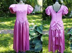 80s Prom Dress in Satin and Lace with Puffed by gottagovintage1, $65.00