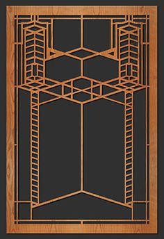 Frank Lloyd Wright Design Elements | Decorative Frank Lloyd Wright Element: Robie Art Glass Window B
