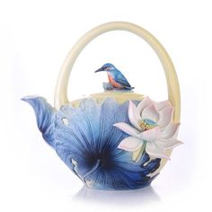 Franz Porcelain Lotus & Kingfisher Teapot