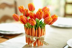 decorating with a carrot theme | DIY Bloomin' Carrot Bouquet: Make a Fun Floral Vase from Raw Carrots