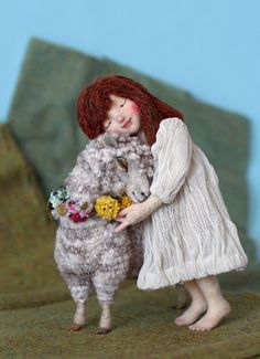 Precious needle felted girl with sheep