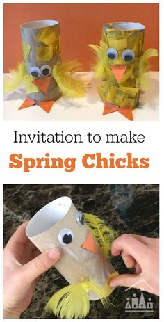 Setting up an Invitation to Make, is the ideal way to keep kids of different ages busy on the same activity. All you need to do is lay out the materials and then sit back and watch each of your children use them to make their own individual creations. Challenge your kids to craft Spring Chicks over the Spring Break.