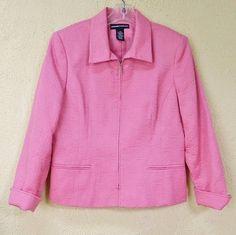 Norton McNaughton Self Embroidered Front Zip Blazer Jacket 10 Bright Pink #NortonMcNaughton #Blazer