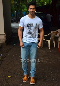 Varun Dhawan looking too cool in a t-shirt with the print War is Over featuring John Lenon & Yoko! via Voompla.com