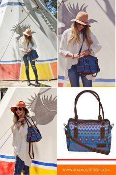 Crossbody handbag, Ethnic Tribal handwoven purse, Travel duffel bag, Brown leather satchel bag, Guatemalan embroidered shoulder bag