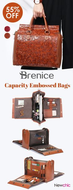 【US$62.74】Brenice Embossed Flower Handbags Vintage Capacity Bohemian Shoulder Bags #leatherbags #BigCapacityBag #ToolBag #BeautyBag #VintageBag