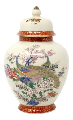 Vintage Japanese Ginger Jar With Peacocks and Flowers on Chairish.com