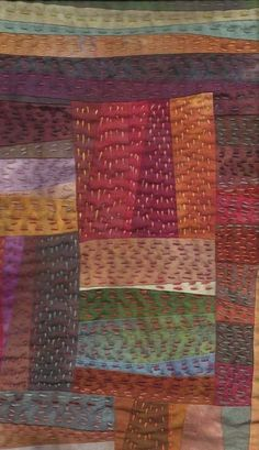 more details.Kantha quilt or simply big-stitch quilting Sashiko Embroidery, Japanese Embroidery, Hand Embroidery Stitches, Embroidery Patterns, Embroidery Techniques, Knitting Stitches, Kantha Quilt, Boro Stitching, Hand Stitching