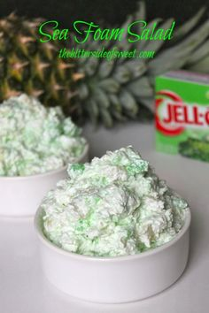 Sea Foam Salad Recipe ~ wonderful tasting dessert... quick to fix and only 4 ingredients: crushed pineapple, lime jell-o, cream cheese and cool whip!