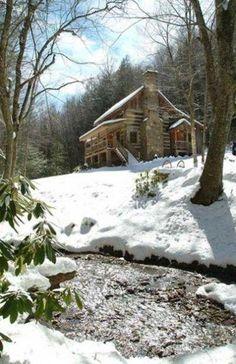 Blue Ridge Mountains Cabin in NC, Sleepy Creek-Antique Log Cabin on Beautiful Stream Near Boone Winter Cabin, Cozy Cabin, Snow Cabin, Guest Cabin, Cabin In The Woods, Log Cabin Homes, Log Cabins, Log Cabin Plans, Log Cabin Rentals