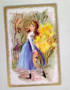 vintage Get Well greeting card - Edwardian 1890s girl - 1960s