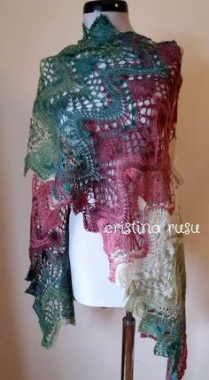 aefcb71711a3 Multicolor hand knitted lace shawl,knit scarf, Lace estonian  shawl,Handknitted multicolor shawl