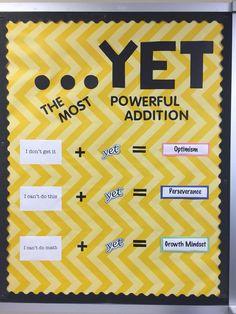 Math, bulletin board, growth mindset, yet