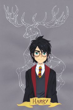 Harry Potter -- Gouache painting on colored paper