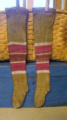 AAFA 1800s Child's Long Stockings Primitive Patched Repaired Original Early | eBay