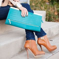 teal clutch, jeans, and cognac heeled booties #outfit #fashion #sponsored #fall #winter #clothes