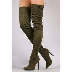 Pointy Toe Drawstring Tie Stiletto Suede Over-The-Knee Boots ($64) via Polyvore featuring shoes, boots, slip on boots, pointed toe stilettos, over the knee stiletto boots, suede thigh high boots and pointed toe high heels stilettos