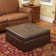 Christopher Knight Home Chatsworth Brown Leather Storage Ottoman | Overstock.com Shopping - Great Deals on Christopher Knight Home Ottomans