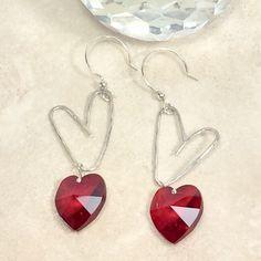 Heart earrings, valentine gift, crystal earrings, girlfriend gift, red earrings, lightweight earrings, metal earrings, boho earrings