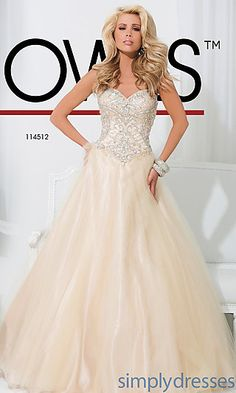 Strapless Sweetheart Nude Ball Gown at SimplyDresses.com