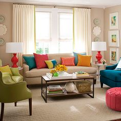 Notice scale of two green chairs on long wall. Third chair can sit across from window wall as it does now. Note bench seat on sofa.
