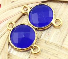 An-1091 Summer sale!Blue chalcedony 24k Gold Plated Connector #Handmade #Contemporary