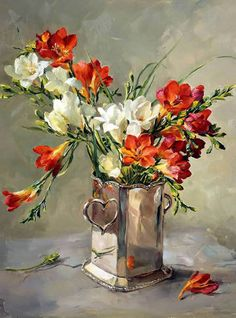 Freesias in Silver | Mill House Fine Art – Publishers of Anne Cotterill Flower Art