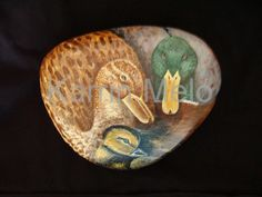 Garden Stone / Hand Painted Mallard Duck / Animal Family Rock, Custom Portrait / Painted rocks / Art in Acrylics of Birds / Fine Art on Etsy...