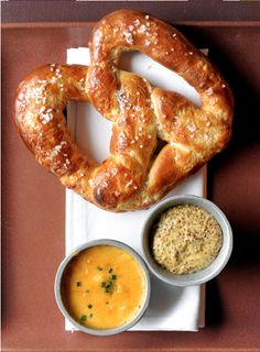 Homemade soft pretzels with beer cheese
