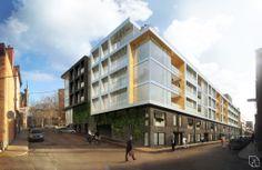 Aux croisements des rues Saint-Jean, d'Aiguillon, Turnbull et Philippe-Dorval, le Tandem embrasse la densité urbaine et affirme le caractère typique de son environnement immédiat. L'expression matérielle de l'immeuble se veut une réponse aux éléments distinctifs de l'architecture du quartier.