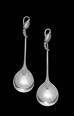 Georg Jensen Pair Of  Acorn Sterling Silver /& Ebony Chopstick Set Johan Rohde.