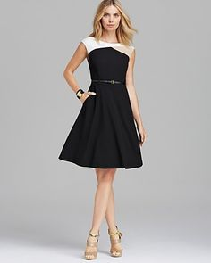 Calvin Klein Lux Stretch Fit and Flare Dress | Bloomingdale's