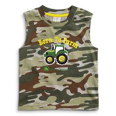 John Deere Infant and Toddler Green Camo Born To Farm Tank Top Outdoor Brands, Outdoor Gear, John Deere Baby, Brand Expert, Ford Tractors, Beautiful Babies, Camo, Tank Man, Infant