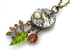 """For the coolest steampunk jewelry EVER check out Janne Perry's Shop """"ClosetGothic"""" on etsy. She designs each piece and is super nice...if you have a design in mind she can help you create it! Tell her Rob sent you!! Steampunk Necklace, Exotic Charms & Vintage Watch Movement  - Long Chain Necklace. $79.00, via Etsy."""