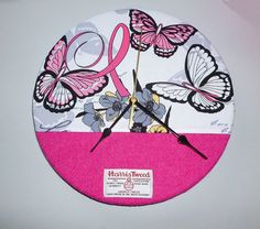 Large HARRIS TWEED Wall Clock - Breast Cancer Awareness Fabric - Handmade to Order in the Outer Hebrides