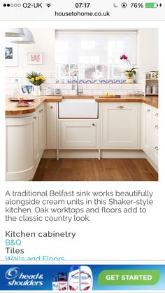Metro tiles country kitchen Oak Worktops, App Home, Belfast Sink, Shaker Style Kitchens, Metro Tiles, Kitchen Cabinetry, Country Kitchen, Wall Tiles, Flooring