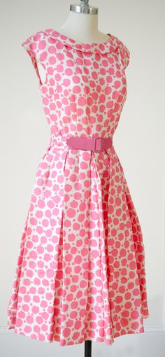 50s Pink White Retro Print Vintage Dress