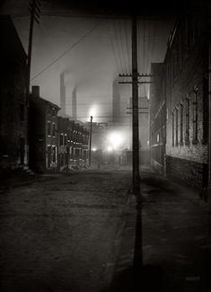 "Pittsburgh, Pennsylvania, circa 1907. ""A Mill Street."" Fifty Shades of Black. 7x5 inch glass negative, Detroit Publishing Company."