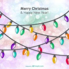 Christmas card with light bulbs