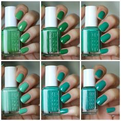 Essie Green Comparison: First Timer, Mojito Madness, Pretty Edgy, Ruffles & Feathers, Melody Maker & Naughty Nautical | Essie Envy