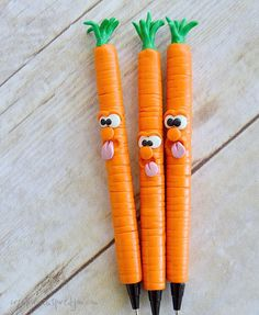 Polymer Clay Carrot Pens - CreativeMeInspiredYou.com More